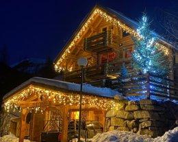 Chalet de rêve en rondins superbe vue, immense terrasses,sauna storvat